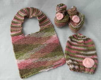 Hand Knitted Pink Camo Baby Set