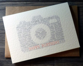 Personalised word art camera birthday card - photography birthday card - birthday card for photographer - word art – cards for him, men, her