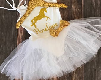 Girls Golden Unicorn Tutu Dress / Unicorn / Birthday Tutu Dress / Gold Unicorn / First Birthday / One Birthday