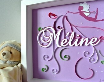Picture theme personalized christening or birth gift. arabesques, purple, name, in relief. Deco kid's room. paper cut
