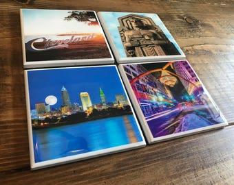 Cleveland Landmark Photo Coasters