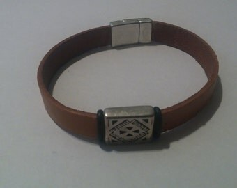 Mens Native American Inspired  leather bracelet