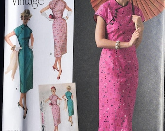 1950s Vintage Asian Inspired Dress- Simplicity Pattern 8244 Misses'- 6, 8, 10, 12, 14