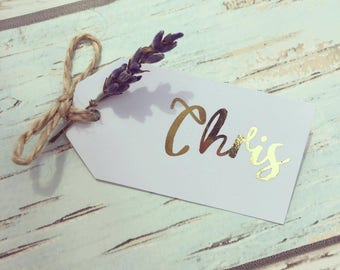Gold foil place cards with real lavender sprig - rustic place card set of 10