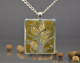Enamel jewelry, enamel pendant, silver pendant, art jewelry, silver jewelry, silver necklace, gift for her, brown enamel, enamelled necklace