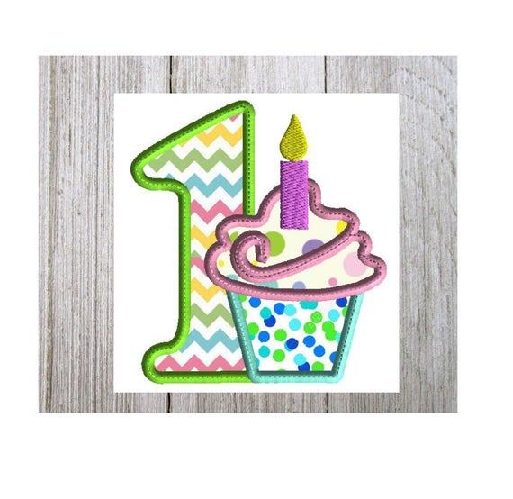 1st Birthday Cupcake Embroidery Design Cupcake Applique