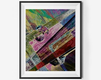 Door Graffiti-Like Retro 80s 70s Inverted Printable Abstract Wall Art (Vintage), Instant Download
