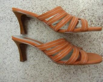 Vintage Sandals/Heeled Sandal/Orange Leather Sandal/CAPELLI ROSSI Sandal/Ladies Summer Sandal/ EUR 38,5/Made in Brazil