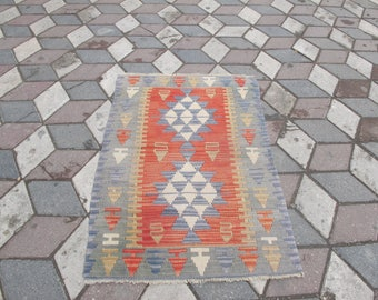 "Free Shipping Turkish Kilim rug, vintage rug, turkish Kilim, Turkish Rug, handwoven rugs, vintage kilim rug, Large Kilim Rug 29.9"" X 47.2"""