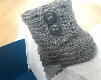 Baby Wool Booties Merino Gray, Handmade Baby Booties,  Eco Baby Booties, Baby Gift, Christmas Gift