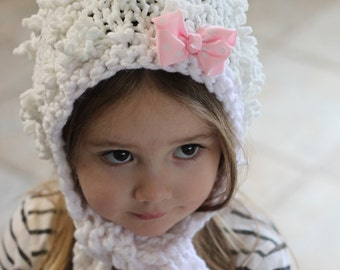 Knitted White Hood With Bow, Little Girls Hat