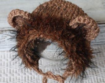 knitted Sitter Bonnet, Knitted Sitter Lion Photo prop, boy Sitter Bonnet