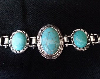 Native American Style Simulated Turquoise Bracelet Silver Tone Bracelet Country Western Style Bracelet Turquoise Jewelry Biker Girl Jewelry