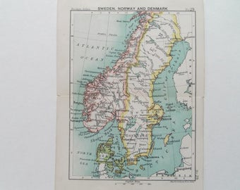 Sweden Norway and Denmark Antique Miniature Barthlomews  map  dated 1895 16cm x 12cm