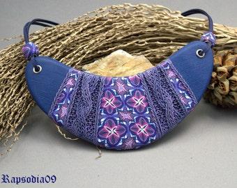 Jewelry necklace Polymer clay bib necklace Statement blue violett neckace Knitting large necklace