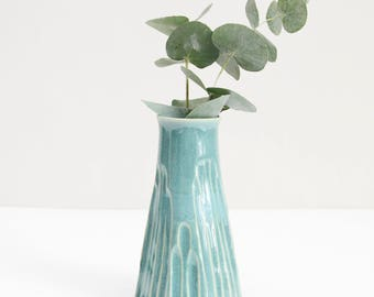 turquoise carved vase, retro style, textured, handmade, ceramic, pottery, wheel thrown, glazed