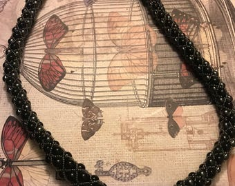 Black Bead/Pearl Rope Necklace