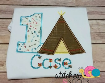 1st Birthday Appliqued Tee Pee Shirt