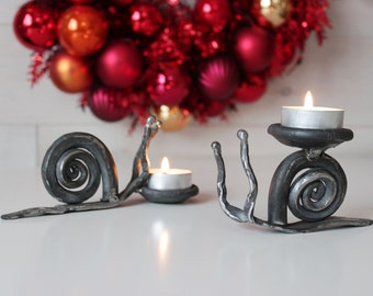 Hand forged snail candleholder