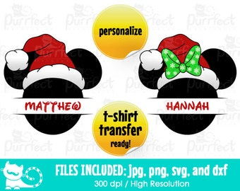 Mickey and Minnie Christmas Hat Name MONOGRAM SVG, Disney Head Hat SVG, Disney Digital Cut Files in svg, dxf, png and jpg, Printable Clipart