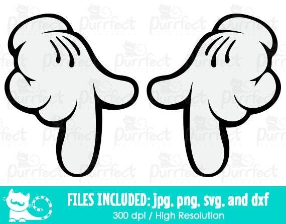 Mickey Mouse Para Imprimir De Manos Manos De Mickey Para: Mickey Y Minnie Las Manos Apuntando Hacia Abajo SVG SVG De Las