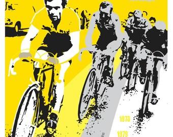 Cycling tour de france legend unframed print. Bernhard Hinault. 2 styles available