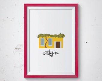 Cartagena de Indias, Ciudad Amurallada, Colombia Digital Print, Digital Download, Cartagena Poster, Cartagena Wall Art, Colombia Print