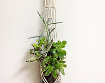 "Natural Cotton Macrame wall Hanger / 36"" Long / Mason Jar Holder"