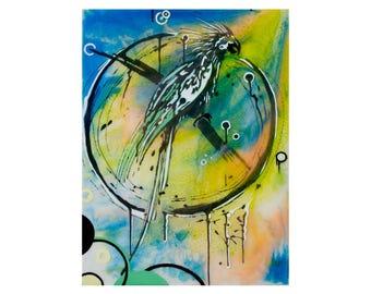 "Original ""Parrot"", Acrylic, Resin, 30x40 cm Painting"