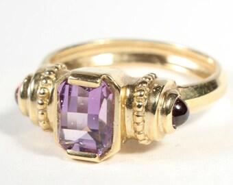 Amethyst Garnet 14k Gold Ring January February Birthstone Gift for Her Size 6