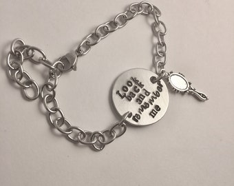 Look back and remember me hand stamped ID charm bracelet