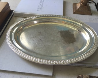 Vintage Tiffany & Co. silver platter. Hollywood Regency, art deco