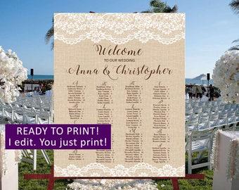 Rustic Wedding seating chart,Lace Burlap Wedding seating chart personalized,Country Wedding seating board,Rustic wedding seating plan,29