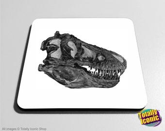 Drinks Coaster Mat - T-Rex Skull/Head - Jurassic Park - T-Rex