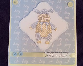 New baby card, card for new baby boy, it's a boy! New baby elephant card, baby boy congratulations, birth congratulations, baby birth.