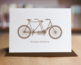 Bicycle Note Cards / Personalized Stationery Note Card Set - Set of 10 Folded Shimmer Note Cards - NC8011