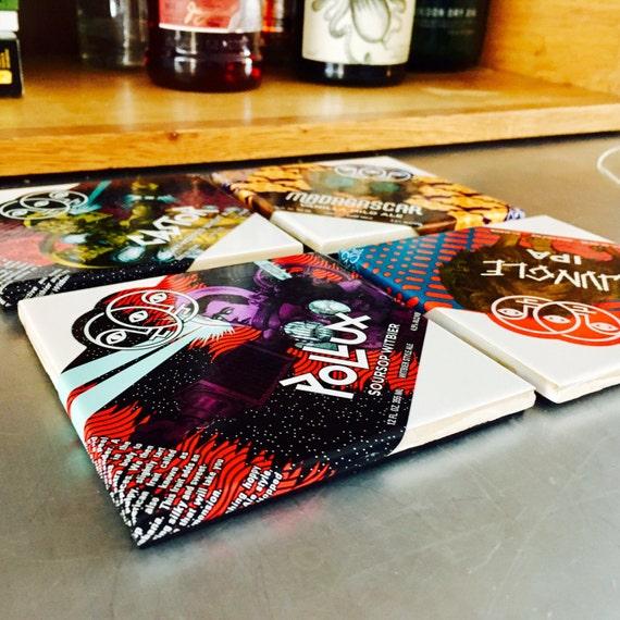 Beer label coaster set