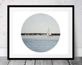 Sailboat Photograph, Printable, Coastal Art, Digital Download, Beach Photography, Ocean, Sailing