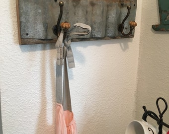 Reclaimed Metal and Wood Coatrack