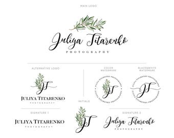 Logo, Watercolor Branch Logo Design, Branding kit, Premade Initials logo, Business Card Design, Photography logo, Green olive leaf logo