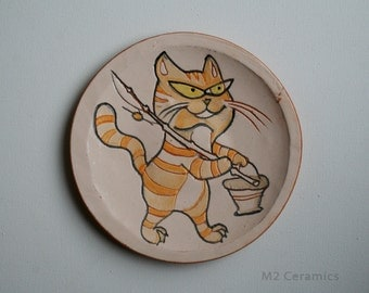 "Ceramic plate  ""Сat"", Kitty, cat going on a fishing trip, fishing, cat and fish, decorative ceramic plate, orange cat"