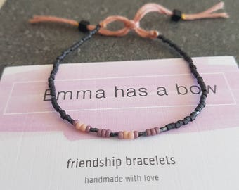"In anthracite with powder, Morse code ""XOXO"" sound Friendship Bracelet"