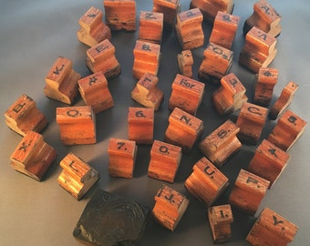 Antique Rubber Stamps with wooden handles 1800's-early 1900's