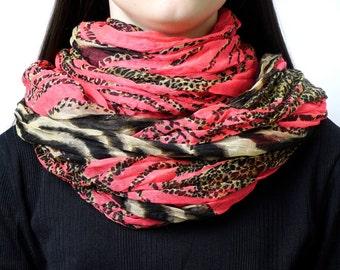 Infinity scarf, animal print scarf, snood, loop scarf, red scarf, women's tube scarf, ladies scarf, modern scarf