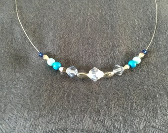 Blue, crystal and silver wire necklace