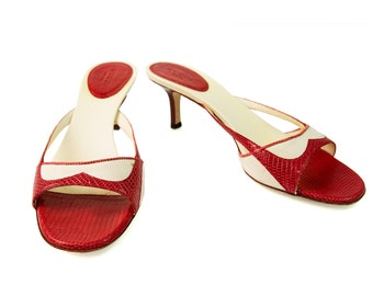 Gucci beize canvas w/ red lizard leather slides mules sandals size 36 shoes