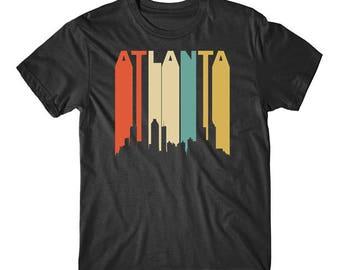Vintage Retro 1970's Style Atlanta Georgia Cityscape Downtown Skyline T-Shirt
