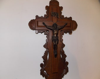 French carved cross crucifix with Jesus