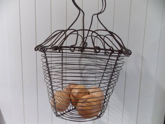 Antique Woven Egg Basket : Antique french woven wire egg basket vegetable