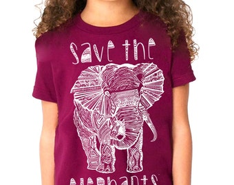 save the elephants- shirt girls top shirt maroon